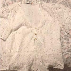 White blouse/ slight peplum blouse